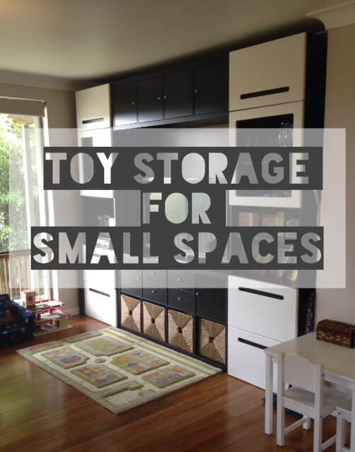 Toy Storage for small spaces: Ikea Besta & Kallax