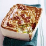 chicken bacon and leek pie