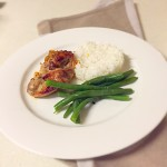 glazed chicken with coconut rice