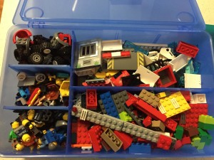 Segmented containers for lego storage.