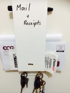Keeping reciepts organised.
