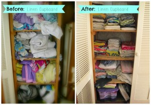 Linen cupboard before & after