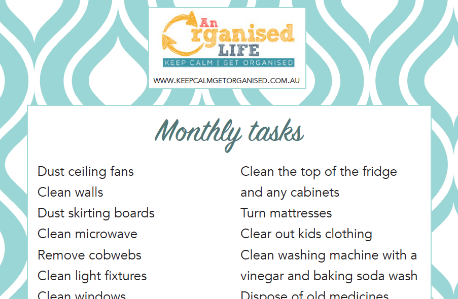 Monthly Cleaning To Do List Printable