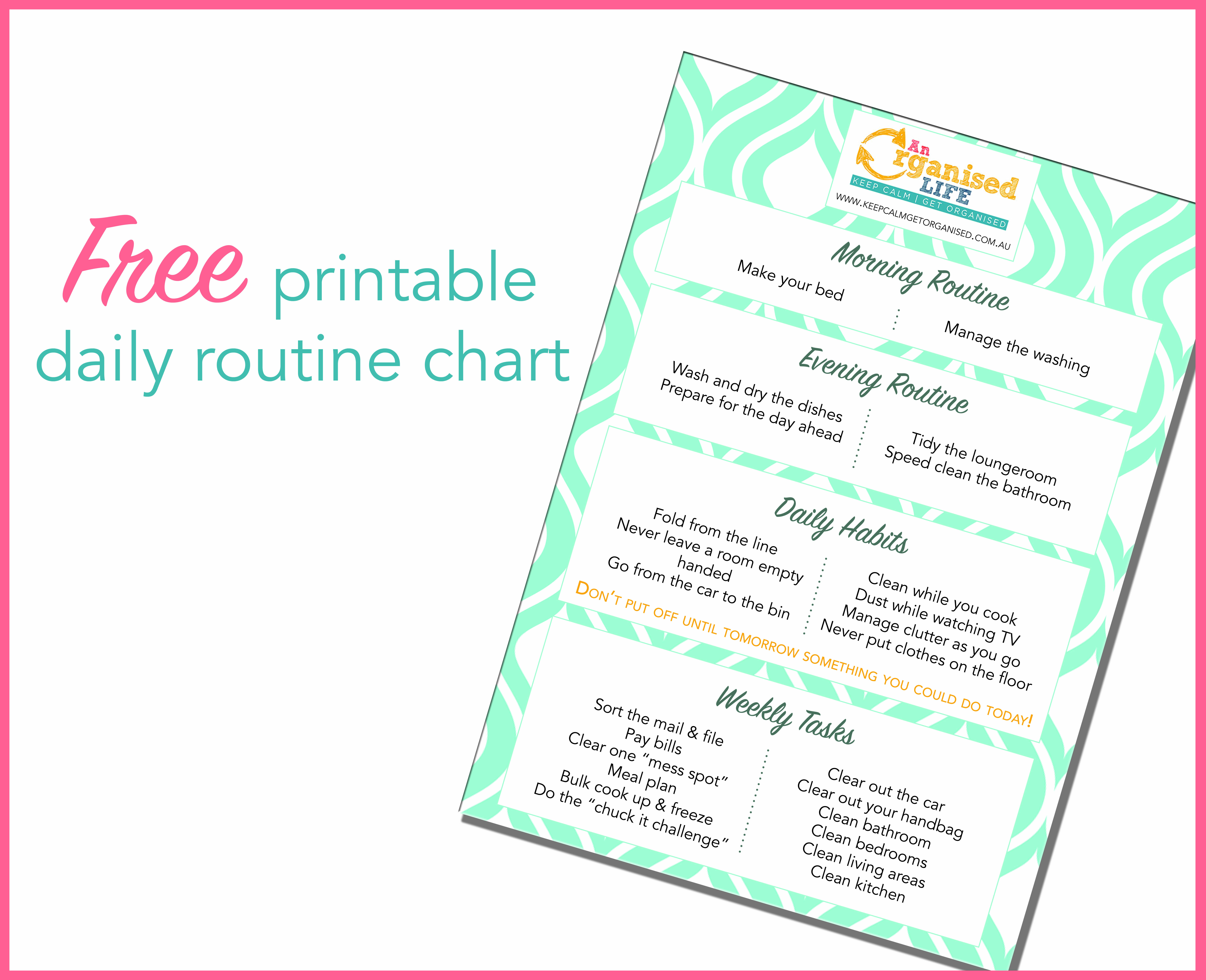 photograph relating to Morning Routine Checklist Printable identify Absolutely free printable each day timetable chart Preserve Serene Consider Organised