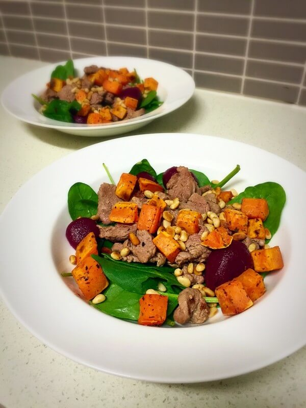 Lamb, beetroot and sweet potato salad recipe