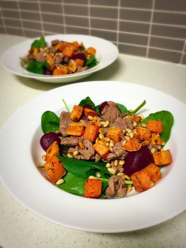 Lamb, beetroot and sweet potato salad recipe
