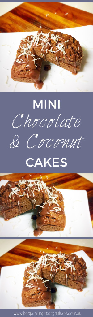 Mini chocolate and coconut cakes for pinterest