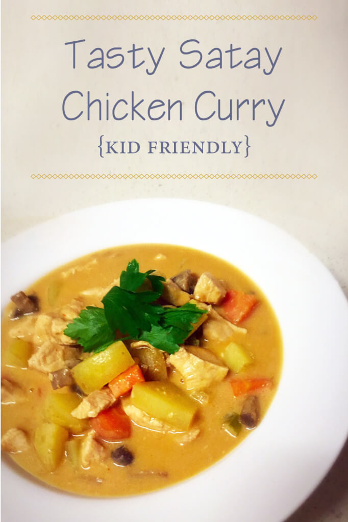 Tasty satay chicken curry. Kid friendly.