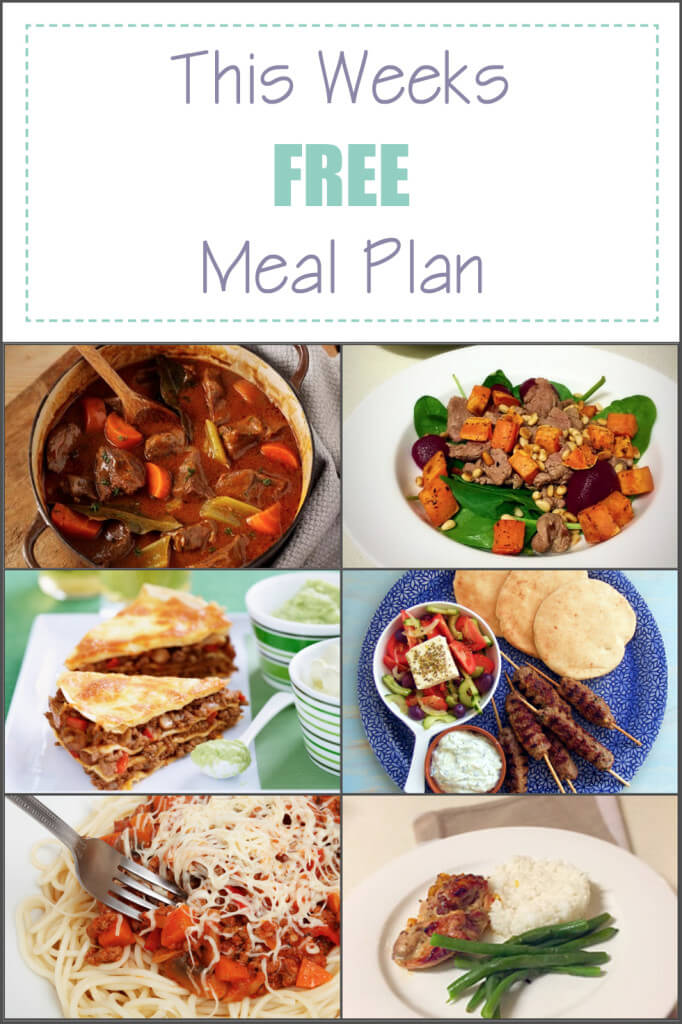 This weeks free meal plan 16th may