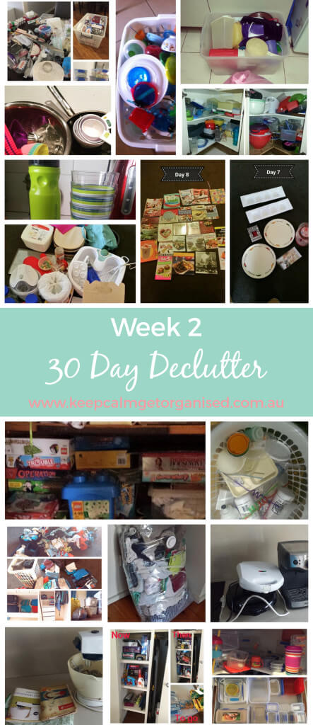 Week two overview of the 30 Day Declutter from www.keepcalmgetorganised.com.au