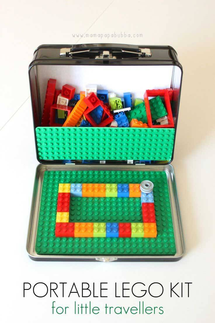 Lego sorted into a segmented container