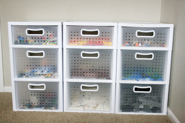 Sorting by colour lego storage drawers