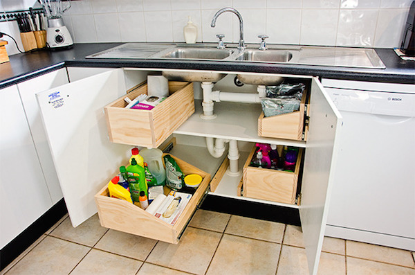 under sink storage and cleaning