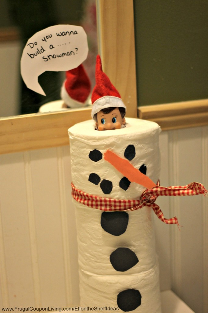 Snowman Elf on the shelf from Frugal Living.