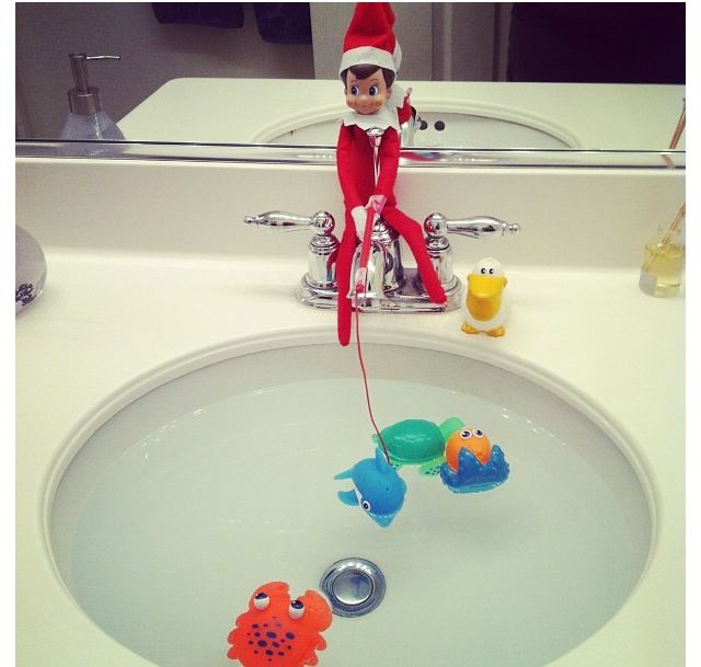 Elf on the shelf goes fishing! From here.