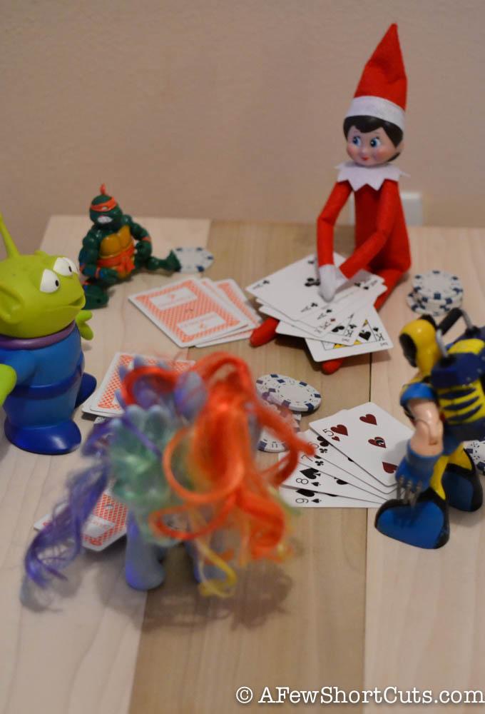 Elf on the shelf poker match.