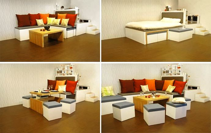 How cool is this flexible multipurpose furniture set up. Bed, table, office and lounge in one! Image sourced here.